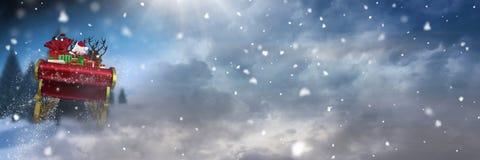 圣诞老人` s雪橇和驯鹿` s的雪转折 库存照片