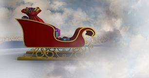 圣诞老人` s雪橇的多云天空转折 免版税库存图片