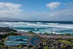 圣诞老人bà ¡ rbara蓝色波浪,亚速尔群岛 免版税库存照片