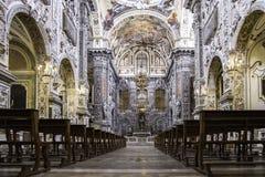 圣诞老人Caterina教会的中央教堂中殿在巴勒莫 意大利 库存照片