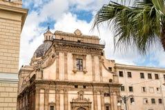 圣诞老人Caterina教会门面看法在巴勒莫,意大利 免版税库存图片