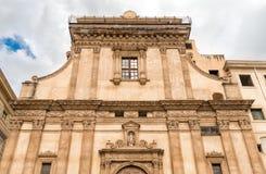 圣诞老人Caterina教会门面看法在巴勒莫,意大利 免版税库存照片