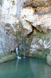 圣诞老人Cueva de科瓦东加, Cangas de OnAss,西班牙 免版税图库摄影