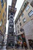 圣诞老人Justa推力在中央里斯本,葡萄牙 免版税库存照片