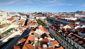 从圣诞老人Justa推力,葡萄牙的里斯本地平线 免版税库存图片
