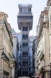 圣诞老人Justa电梯在里斯本,葡萄牙 免版税图库摄影
