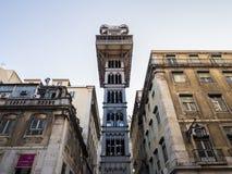 圣诞老人Justa里斯本,葡萄牙电梯街市  免版税库存图片