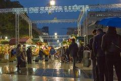 圣诞老人Llucia圣诞夜市场巴塞罗那 免版税图库摄影
