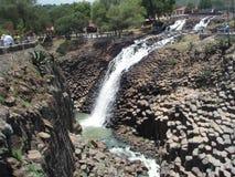圣诞老人MarÃa Regla,墨西哥玄武岩棱镜和瀑布  库存图片