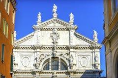 圣诞老人Moise教会巴洛克式的门面威尼斯意大利 免版税图库摄影