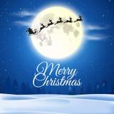 圣诞节、多雪的领域、圣诞老人和满月 免版税库存图片