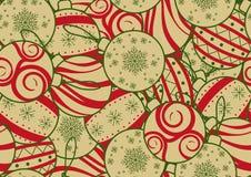 圣诞节、新年或者党的无缝的背景设计在简单的平的样式 五颜六色的圣诞节装饰品任意在背景 皇族释放例证