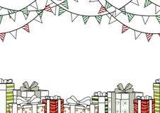 圣诞节、新年或者党的海报设计在简单的舱内甲板 向量例证