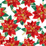圣诞节一品红的无缝的样式与金子的 库存图片