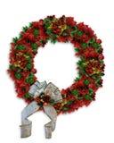 圣诞节一品红花圈 免版税库存照片