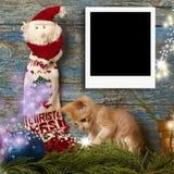 圣诞节一立即空的照片框架 库存图片