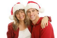 圣诞节一起妈妈儿子 免版税库存图片