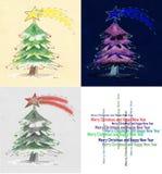 圣诞节三个结构树 图库摄影