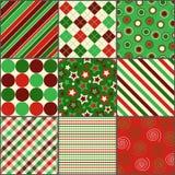圣诞节上色了九个模式 免版税库存图片