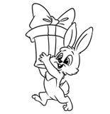 圣诞节上色页的兔宝宝礼物 图库摄影