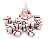 圣诞节下礼品结构树 库存照片