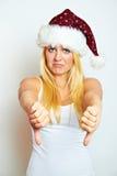 圣诞节不成功的妇女 免版税库存图片