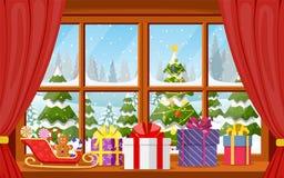 圣诞节与一个多雪的风景的窗口视图 向量例证