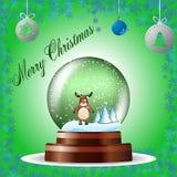 圣诞节与一头驯鹿的贺卡在绿色背景的地球 库存例证