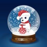 圣诞节与一头北极熊的雪地球 玻璃球传染媒介 免版税库存图片