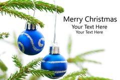 圣诞节与两个蓝色圣诞节球的杉树与圣诞快乐 库存照片
