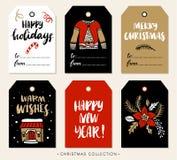 圣诞节与书法的礼物标记 设计被画的要素现有量 库存例证