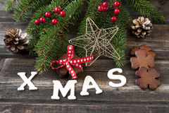 圣诞节与假日构成的礼品券 库存图片
