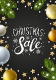 圣诞节与假日装饰的贺卡 向量例证