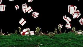 圣诞节与光小河发光的霍莉花圈 库存例证