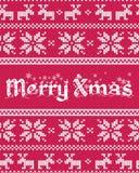 圣诞节与公平的小岛被编织的样式的贺卡 皇族释放例证