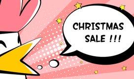 圣诞节与公鸡和文本的销售卡片 图库摄影