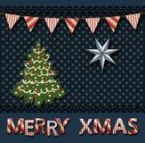 圣诞节与圣诞树的贺卡在葡萄酒scrapbooking的样式 向量例证