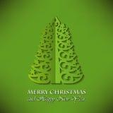 圣诞节与圣诞树的贺卡 免版税库存照片