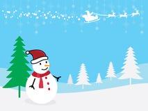 圣诞节与圣诞老人和驯鹿的贺卡雪人 库存照片