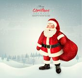 圣诞节与圣诞老人的假日背景 库存图片