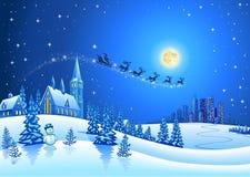 圣诞节与圣诞老人的冬天风景 免版税库存图片
