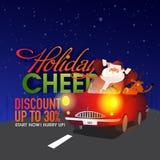 圣诞节与圣诞老人的销售海报 免版税库存图片