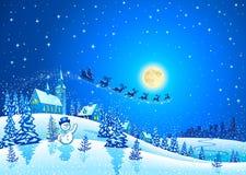圣诞节与圣诞老人雪橇的冬天风景 库存图片