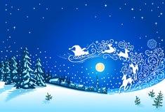 圣诞节与圣诞老人雪橇装饰品的冬天风景 免版税库存照片
