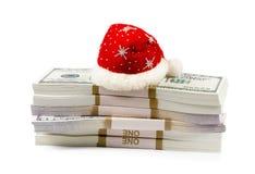 圣诞节与在白色隔绝的金钱的礼物概念 库存图片