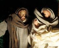 圣诞节与小耶稣、玛丽&何塞普的诞生场面 库存照片