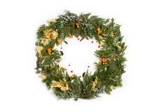 圣诞节与常青杉树和莓果的框架花圈 库存图片