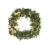 圣诞节与常青杉树的框架花圈 免版税库存照片