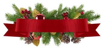 圣诞节与平直的红色丝带的装饰元素 免版税库存照片