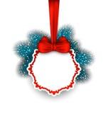 圣诞节与弓丝带和冷杉枝杈的贺卡 免版税库存图片